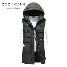 Mens Sleeveless Vest Homme Winter Casual Coats Male Cotton-Padded Thickening Men Waistcoat Plus Size Chaleco con capucha