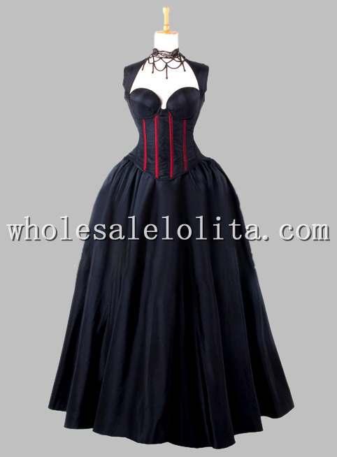Gothique Noir et Rouge Sans Manches top corset En Soie Thaïlandaise Robe Victorienne