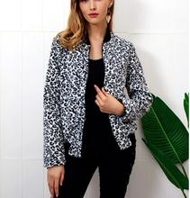 Casual baseball Sweatshirt Bomber Coat Women's Contrast Leopard Print Jacket Zip Long Sleeve Jacket недорого