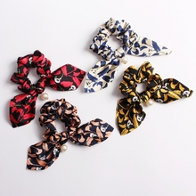 2019 Hair Bow Scrunchies Leopard Print Elastic Hair Band For Women Girls Ponytail Holder Tie Bow Knot Hair Rope Accessories