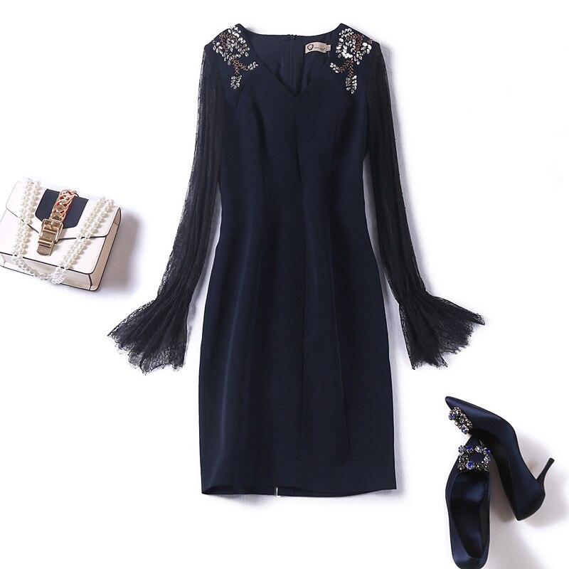 9c85abaaf9c9 Diamanti che borda il vestito da partito sexy della rappezzatura del  manicotto del merletto di modo