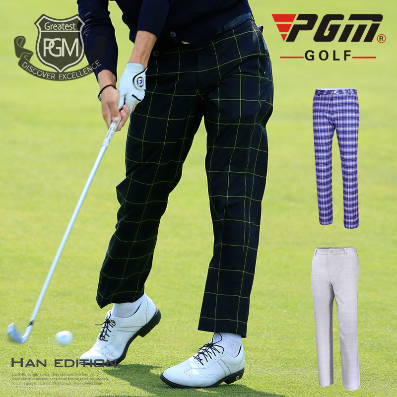 Pgm Men Plaid Pants England Style Soft Golf Trousers Male Straight High Elastic Breathble Quick Dry
