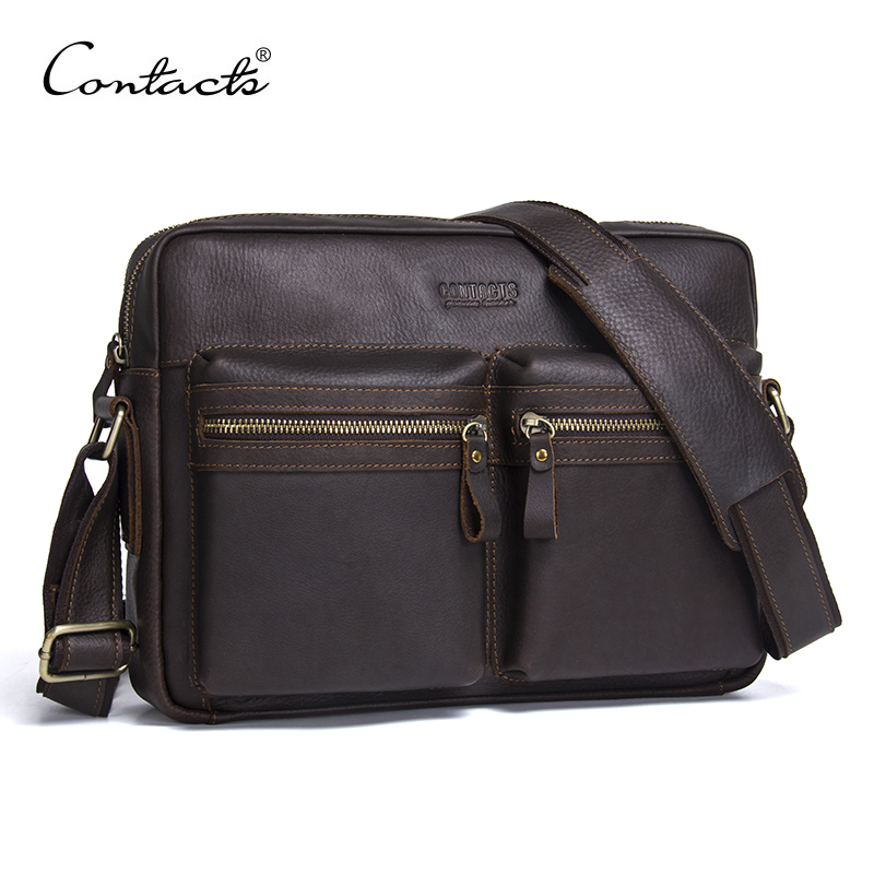 2017 New Fashion Genuine Leather Men Bags Men's Shoulder Bag Brand Messenger Travel School Leisure Bags High Quality CONTACT'S 2016 men s travel bags cool canvas bag fashion men messenger bags high quality brand bolsa feminina shoulder bags m7 951