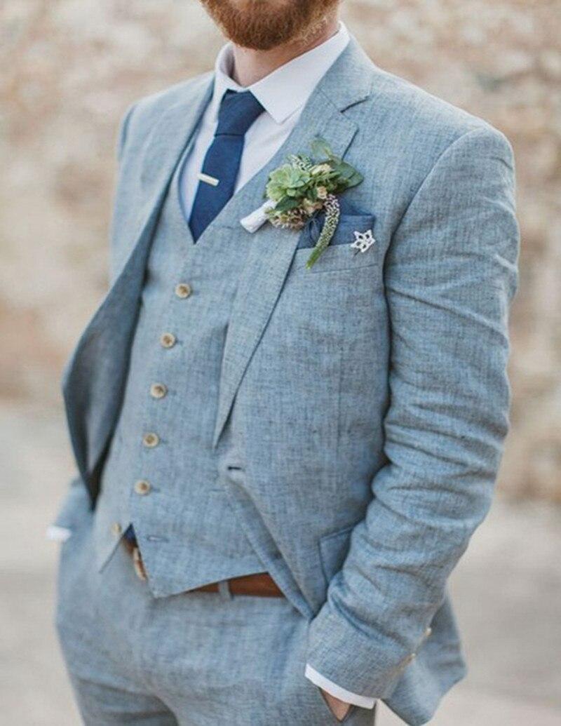 100% Kwaliteit Custom Made 3 Stuk Lichtblauw Linnen Wedding Suits Voor Mannen Strand Slim Fit Bruidegom Draagt Druppel Droog