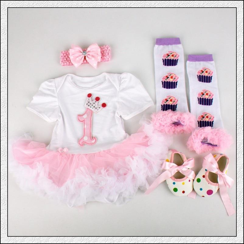 4PC už rinkinį Kūdikių nėrinių romperio karūna 1 gimtadienio - Kūdikių drabužiai