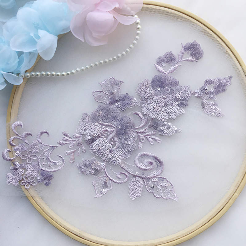 1 Piece Lace Applique Fabric Embroidered Sequins Laces Appliqued Accessories Dress Fabrics Lace Appliques For Wedding Dresses in Lace from Home Garden