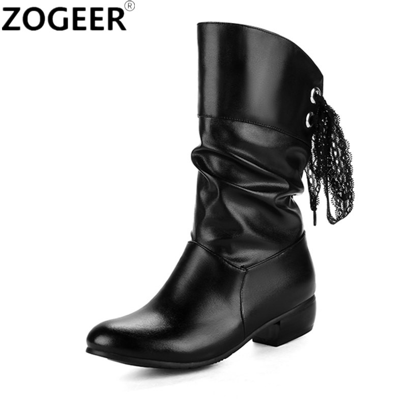 Plus size 47 New Winter Women Boots Casual Low Heels Mid-calf Snow Boots Fashion Soft Pu leather Shoes Woman Red White Black