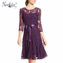 Nemidor Лидер продаж элегантные женские 3/4 рукав Ретро Вышивка линии Кружева платье О-образным вырезом с поясом партия Midi Swing Dress