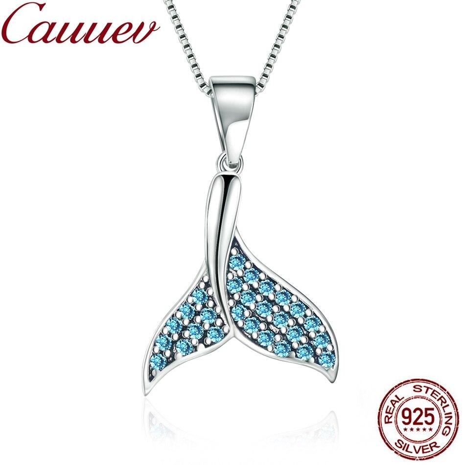 925 argent Sterling Zircon pendentif breloques 925 argent Sterling bleu queue de poisson sirène perles pour s925 charme collier cadeau bijoux