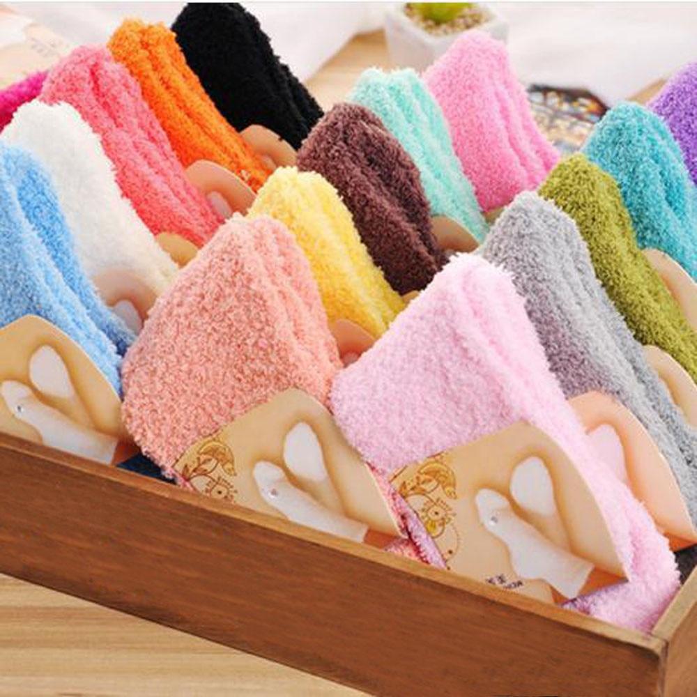 Home Women Girls Soft Bed Floor Socks Fluffy Warm Winter Pure Color Christmas socks