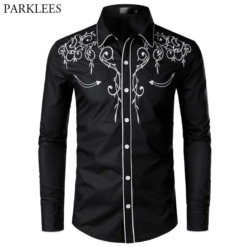 Мужская ковбойская рубашка, с длинным рукавом и вышивкой