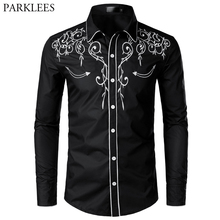 Stylish Western Cowboy Shirt Men Brand Design Embroidery Slim Fit Casu
