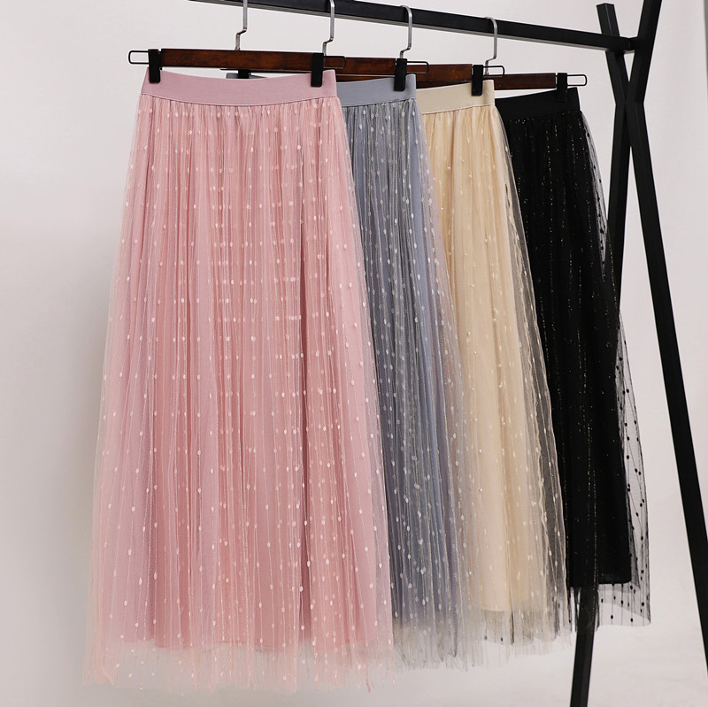Tulle Skirts Pleated Elastic-Waist Sexy Long Retro Double-Layer Fashion Women New-Arrival title=