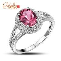 Solid 14K White Gold Natural 1 87ctw Pink Tourmaline Diamond Engagement Ring