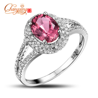 Solid 14K White Gold Natural 1 87ctw Pink Tourmaline Diamond Engagement Ring