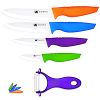 Colorful Ceramic Knife Set 6 Inch Chef 5 Inch Slicing 4 Inch Utility 3 Inch Fruit