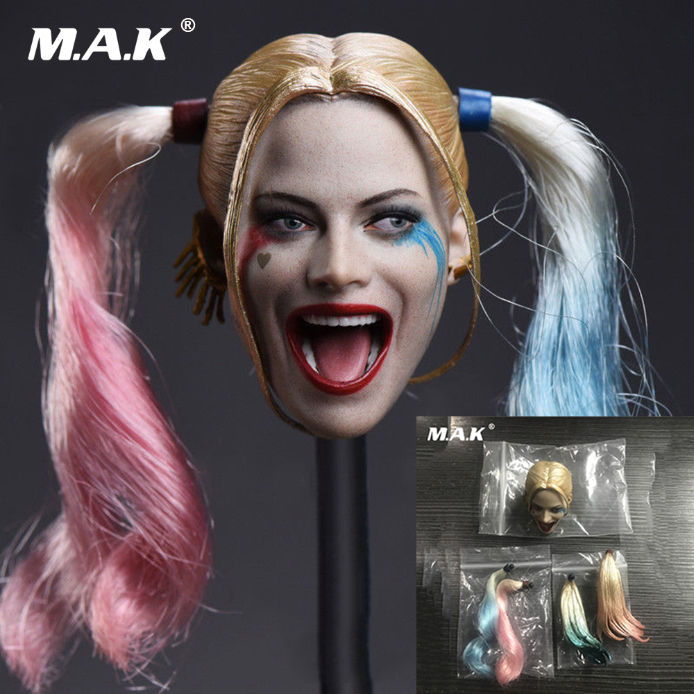 DIY 1/6 Headplay Female Head Scuplt Suicide Squad Joker Harley Quinn with 2 Pair Hair for 12 inches Woman Action Figure Body