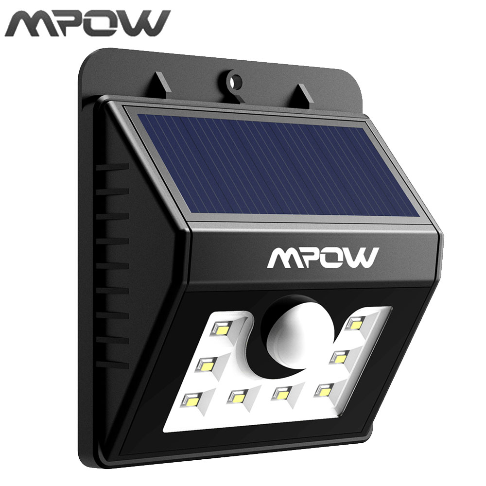 Mpow 8 LED Solar Motion Sensor Lights Waterproof Solar Energy Powered Security Night Light with 3 Intelligient Modes for Garden