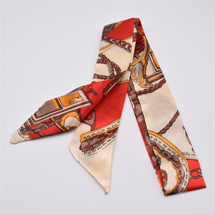 HTB1I67Pdk9E3KVjSZFGq6A19XXa1 - Small Silk Scarf For Women New Print Handle Bag Ribbons Brand Fashion Head Scarf Small Long Skinny Scarves Wholesale