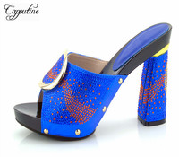 Capputine Summer Decorated With Crystal Woman Slipper Shoes New Italian Style High Heels Gold Color Shoes