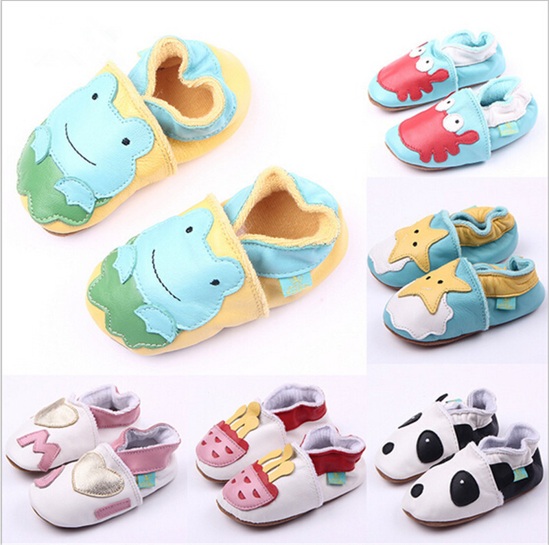 New Spring Autumn Lovely Cartoon Genuine Leather Baby Boys Girls Shoes Soft Sole Infants Toddlers First Walkers Baby Crib Shoes