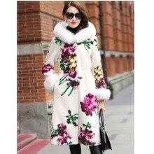 купить LEAYH Brand Autumn and Winter Fur Sheep Cut Coat Women Female Real Fox Fur Collar Flower Print Long Jackets по цене 23056.44 рублей