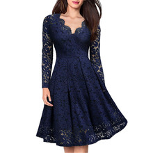 Women Elegant vintage Sexy V Neck Floral Lace evening long sleeve Slim Tunic Work office Casual Party Swing Skater A-Line Dress цена и фото