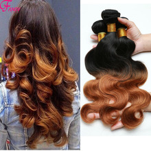 8A Two Tone Brazilian Weave Hair Ombre Brazilian Hair Mocha Hair Products 1B 30 Two Tone Ombre Human Hair Extensions 3PCS