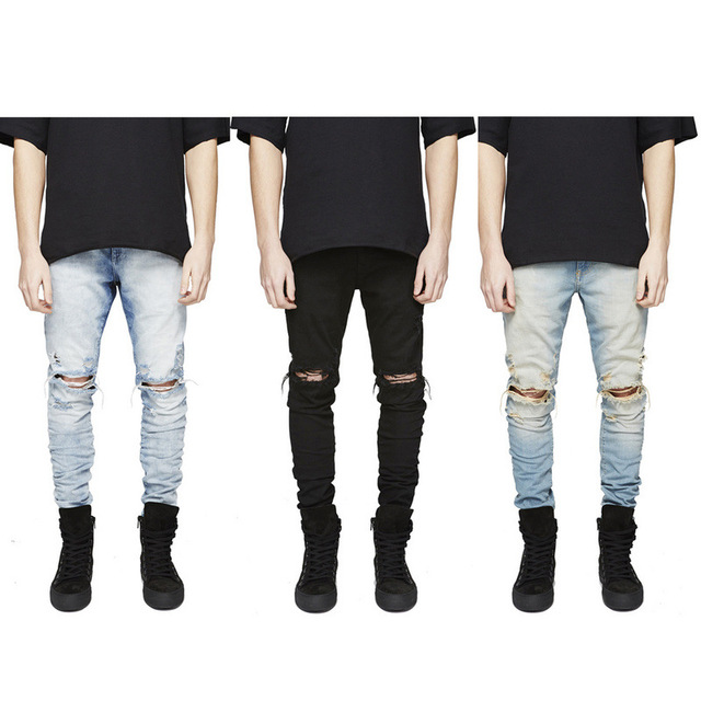 5a7dcbe8 2017 New Vintage Men designer Casual Hole Ripped Jeans Mens Fashion Skinny  Denim Pants Slim Fit Male Trou Jeans pant