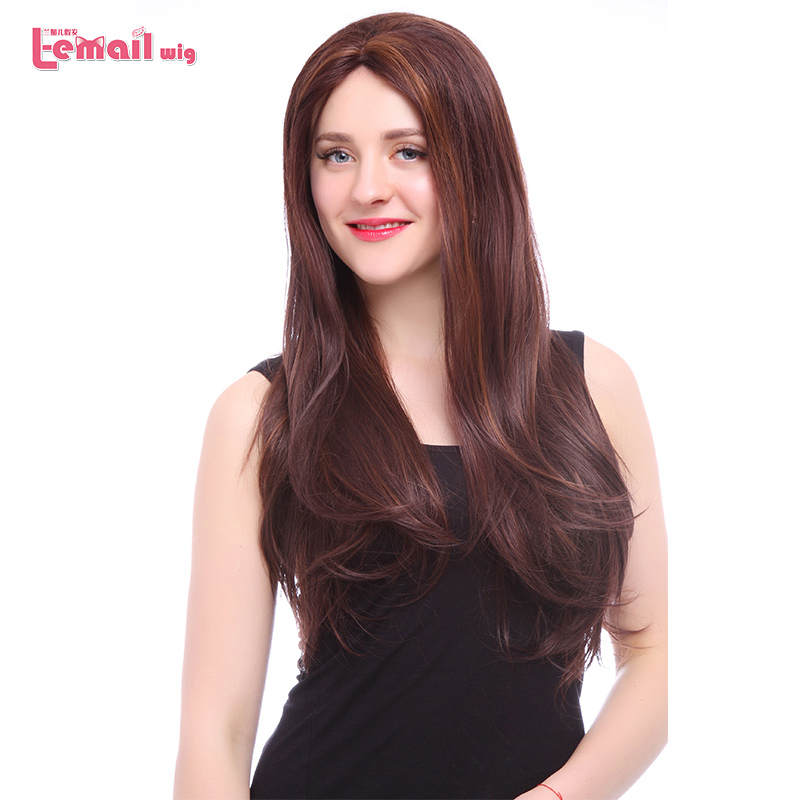L-email wig Straight Brown Lace Front Wigs 70cm Long Hair Wig Women Hair Heat Resistant Synthetic Hair Perucas(China)