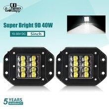 """שיתוף אור סופר בהיר 9D 80W Led עבודת אור 12V 5 """"מבול נהיגה קרן Strobe Led אור בר 24V DRL עבור משאיות 4x4 טרקטורונים ערפל אור"""