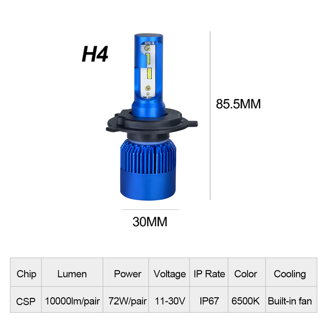 AcooSun H4 H7 Led Car Headlight H1 H8 H9 H11 HB4 HB3 9006 9005 CSP Chip 10000LM 72W 6500K 12V Car Light Auto Fog Lamp
