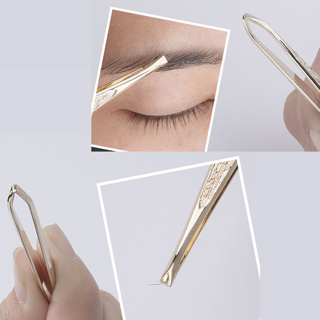 Stainless steel  Faical HairTrimming Beauty Eyebrow Tweezers Plated All Gold Flat Mouth Refers to Thread Eyebrow Clip 5