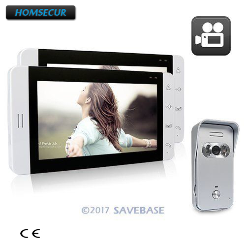 HOMSECUR Wired Video Door Phone Intercom System 7 Recording Monitor Support 32GB Card 1V2