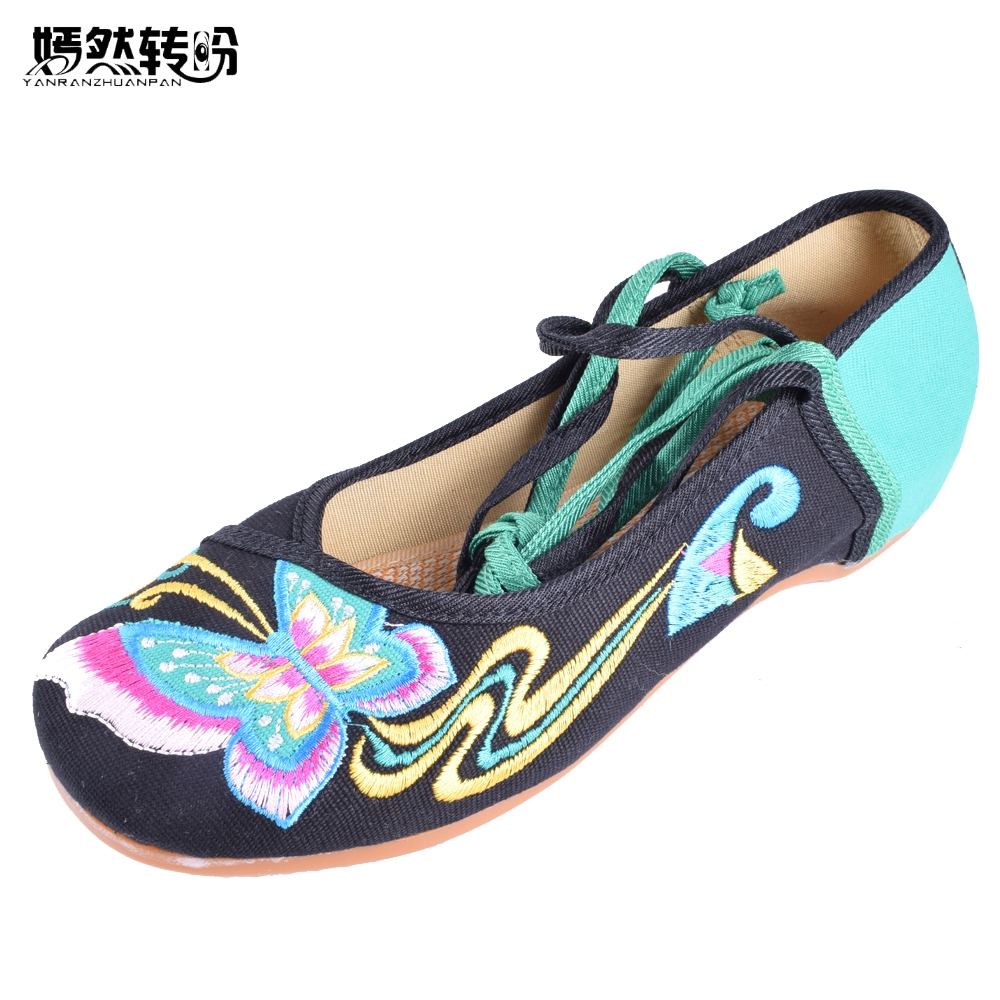 Women Flats Shoes Chinese Butterfly Embroidery Lace Up Soft Sole Cloth Dance Ballet Flat Zapatos Planos Mujer Plus Size 41 peacock embroidery women shoes old peking mary jane flat heel denim flats soft sole women dance casual shoes height increase