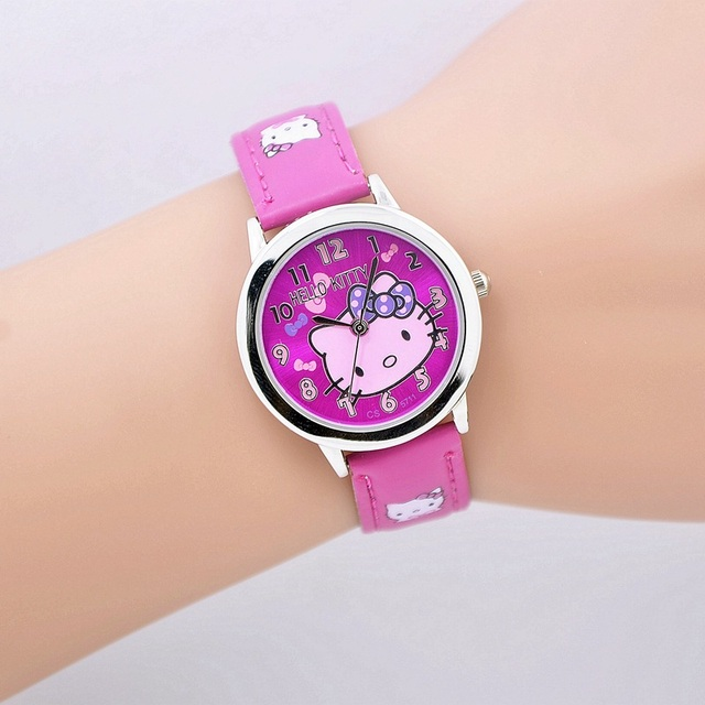 Free shipping fashion cartoon quartz watch Wristatch casual wear hello kitty rhi