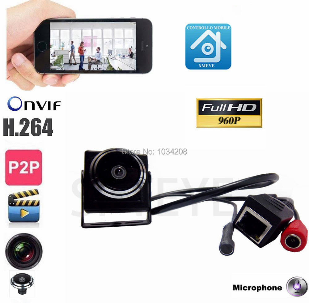 Surveillance Audio Video Camera Mini 960P IP Network Wide Angle Cctv Camera P2P Onvif Plug and Play With 1.78mm Fisheye Lens