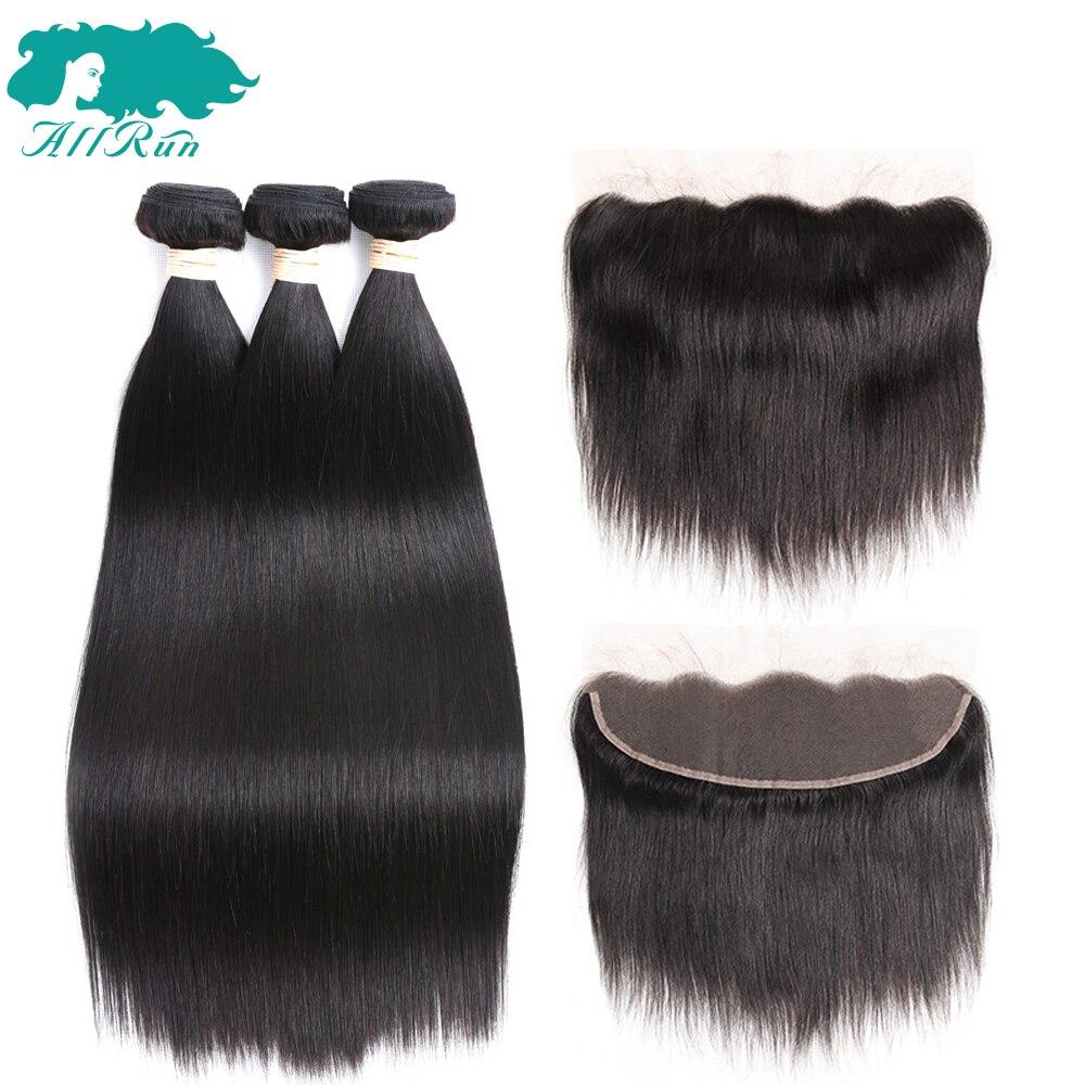 Allrun מלזי ישר שיער 3 חבילות עם 13*4 תחרה פרונטאלית לא רמי שיער הארכת שיער טבעי חבילות עם סגירה משלוח חלק