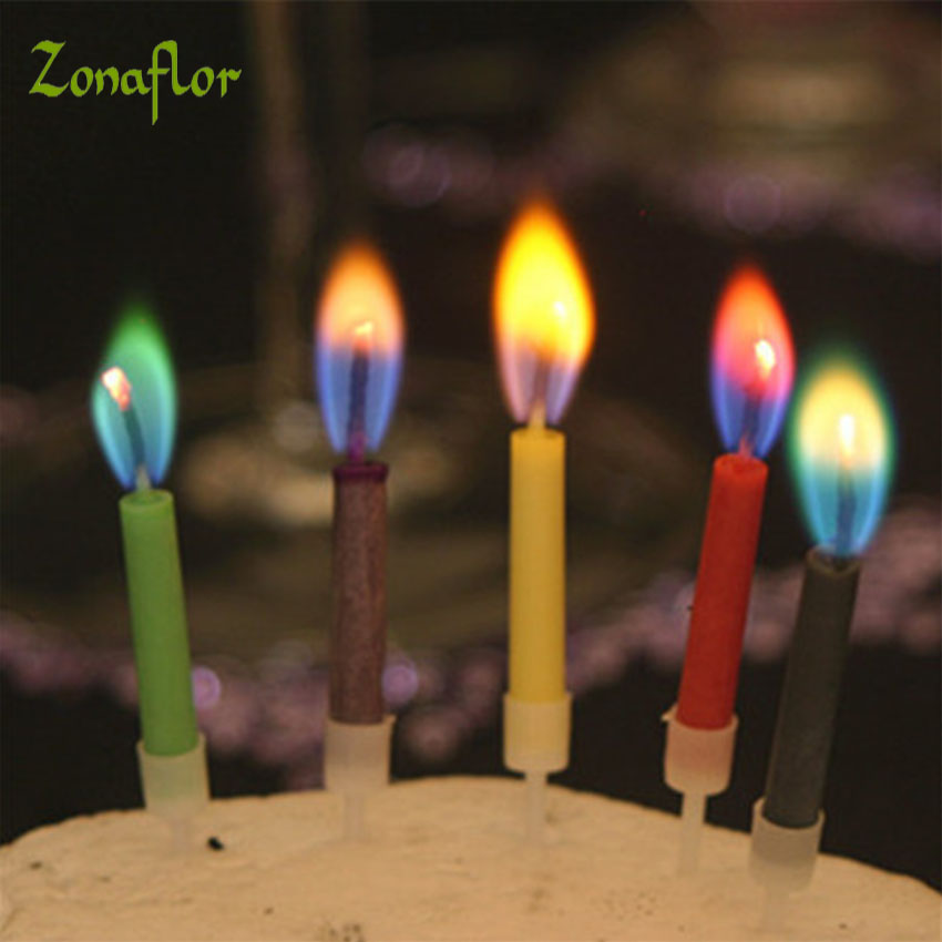 zonaflor 5packs 5pcspack birthday party color candles magic colored flames candles wholesale