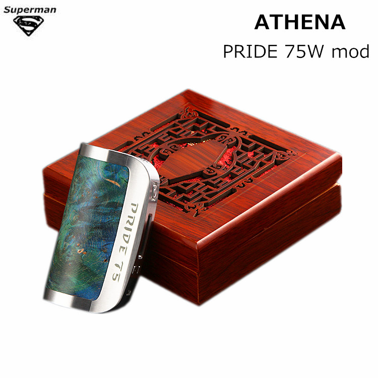 ATHENA Original PRIDE 75W box mod kit Vaporizer electronic cigarette stabilized wood and stainless Steel DNA 75 chip vape kits