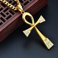 Homens hop colar Ankh Egípcio cruz pingente de strass pingente de chave