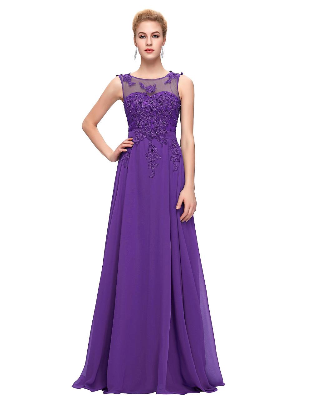 Grace Karin Elegant Long Evening Dresses 2016 Chiffon Pink Purple Red Royal Blue Black Formal Evening Dress Gown Abendkleider 31