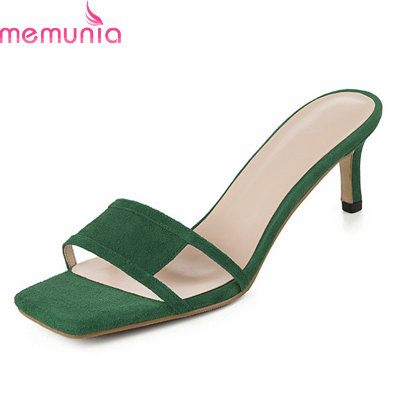 MEMUNIA 2019 new arrival women sandals genuine leather shoes solid colors summer shoes thin high heels