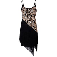 Zmvkgsoa Robe Femme 1920s Gatsby Flapper Sequin Vintage Dress Fringe Women Summer Retro Black Dress 2018