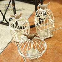 Lue Of European Style Village Mediterranean Style Bird Cage Decoration Wrought Iron Candlestick Vintage Wedding Jewelry