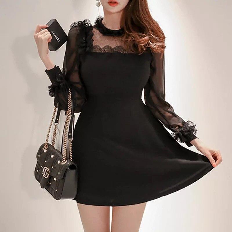 Mode femmes élégant confortable robe noire nouveauté tempérament formel grande taille haute qualité parti perspective sexy robe