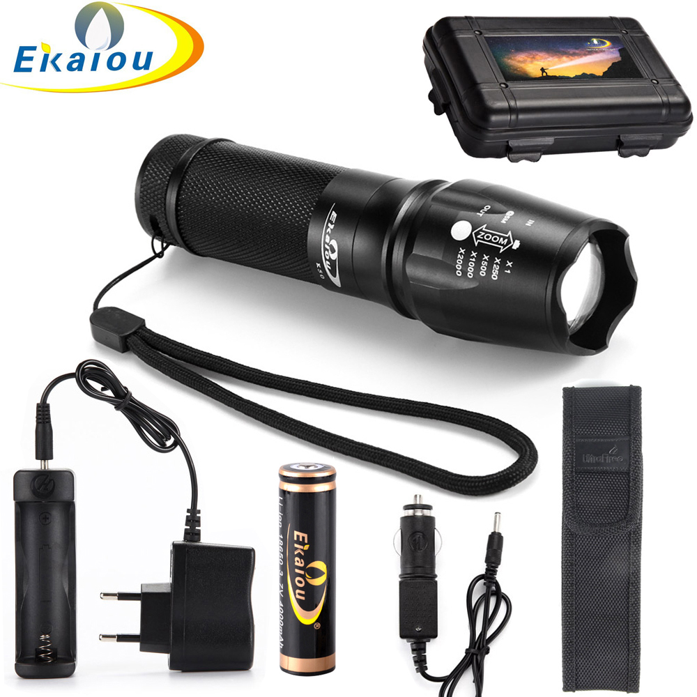 CREE XML T6 3800lm LED Flashlight 18650 zoom torch waterproof 5 mode led Zoomable torch 18650 Battery and Charger Gift Boxes kit crazyfire led flashlight 3t6 3800lm cree xml t6 hunting torch 5 mode 2 18650 4200mah rechargeable battery dual battery charger