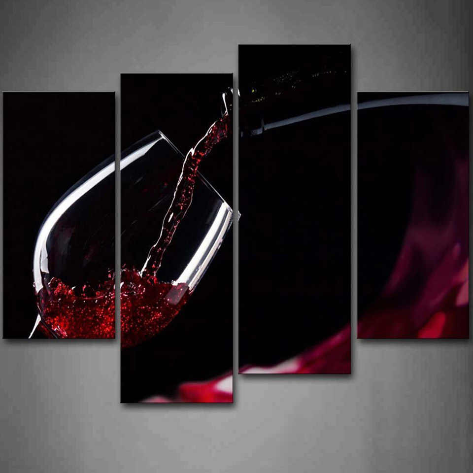 HD Canvas Cuadros Home Decoration Art 4 Pieces/Set Red Wine In The Glass Modern Frame For Paintings Wall Printed Modular Picture
