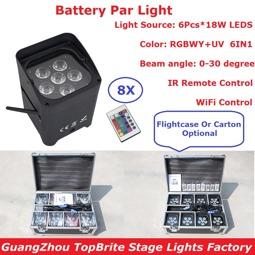 8 Unit Dj Freedom Par 6X18W RGBWY+UV 6IN1 LED Uplight Battery Par Lights WIFI and IR Remote Control With Rechargeable Flightcase freeshipping 8 unit 100% facotry direct sale 3x10w dj freedom par hex 4 4in1 rgbw led remote dmx battery powered uplight light