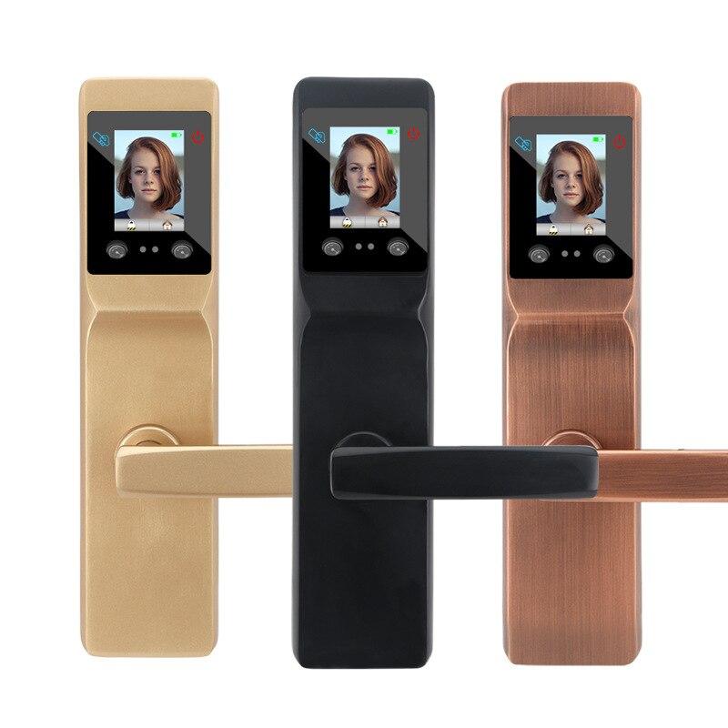 Cerradura de puerta inteligente sin llave de alta calidad, cerradura de puerta de reconocimiento Facial con impresión de Palmprint inteligente para cerradura de seguridad de oficina en casa